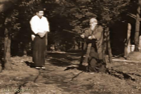 O'Sensei et Morihiro SAITO - Iwama 1964