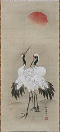 Grue et Soleil de Kano Tôshun Yoshinobu (1747-1797 - Japon, époque d'Edo)